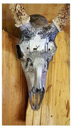 Deer Skull Decor, Deer Hunting Decor, Painted Animal Skulls, Cow Skull Art, Hunting Cabin, Crane, Deer Horns, Antlers, Antler Art