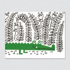 lisa jones studio recycled greeting card, illustration of a friendly crocodile lurking in the swampy undergrowth