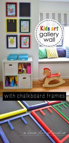 Kids art gallery wall with chalkboard frames
