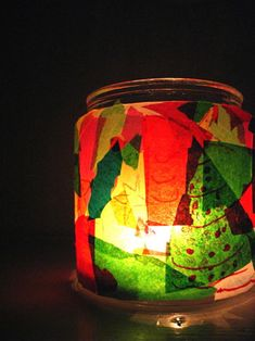 """I made one of these when I was young and still love seeing them. """"stained glass"""" made of crepe paper"""