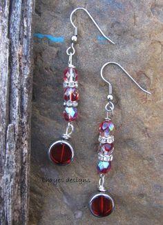 Red Dangle Earrings by brendalou2 on Etsy, 8.00