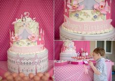 Adorable princess party.  The cake is so detailed and I just adore the cake pops.