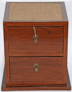 Asian Furniture: Asian Inspired Small Cabinet With Rattan Top From China