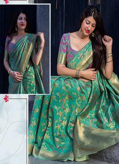 Green Woven Banarasi Saree With Blouse, Designer Border And Designer Pallu.