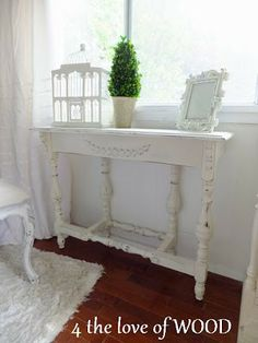 White Console Table made from an antique mahogany gate leg dining table