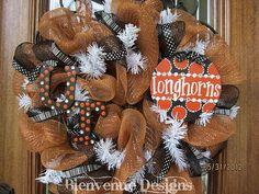 @Tiffany Fralick  Univ of Texas Longhorn College Mesh Wreath by lesleepesak on Etsy, $75.00
