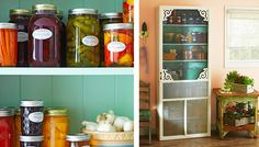 Kitchen pantry with a decorated screen door - country kitchen!