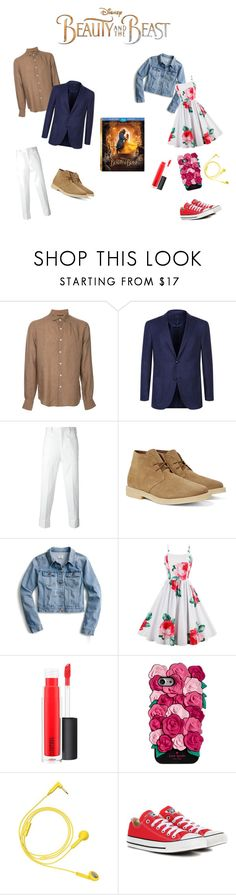 """Beauty and the Beast"" by leahmonroe03 ❤ liked on Polyvore featuring Disney, Estnation, Corneliani, Neil Barrett, J.Crew, MAC Cosmetics, Kate Spade, Happy Plugs, Converse and BeautyandtheBeast"