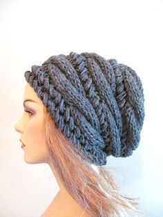 Slouchy Beanie Slouch Hats Oversized Baggy cabled hat womens accessory Charcoal Grey Hand Made Knit - Stirnband stricken Bonnet Crochet, Knit Crochet, Crochet Hats, Knitting Projects, Knitting Patterns, Crochet Patterns, Hat Patterns, Love Hat, Scarf Hat