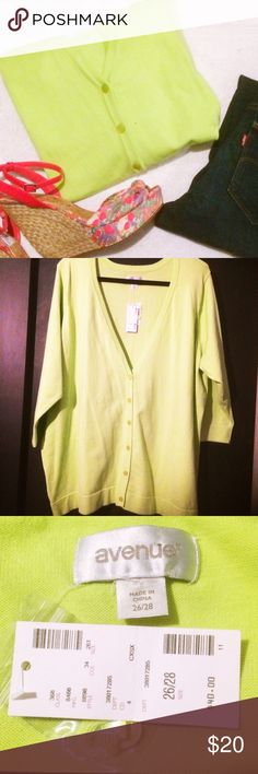 NWT Avenue Lime Cardigan Avenue Cardigan in a lively bright lime/chartreuse color. Button front. This item is NWT. Size 26/28. Styled with dark denim and bright sassy shoes! This cardigan is a closet staple for adding a pop of color to any outfit. Avenue Sweaters Cardigans