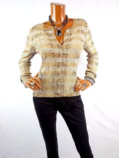 c6b277fc905 EXPRESS Womens Top L NEW SEXY Cardigan Animal Blouse Shirt Stretch Metallic   Express  Blouse  Casual