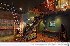 Bunk Room Design Ideas, Pictures, Remodel, and Decor - page 118 Kids Backyard Playground, Backyard For Kids, Diy Zelt, Cool Kids Rooms, Kids Bunk Beds, Loft Spaces, Kid Spaces, Awesome Bedrooms, Cool Beds