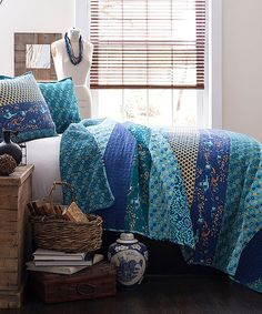 Look at this Peacock Royal Empire Quilt Set on #zulily today!