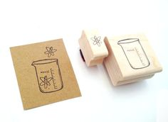 Chemistry Beaker and Atom Stamp Set by WeTheSciencey on Etsy, $18.00