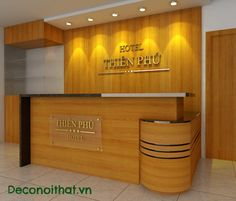 quay le tan Photo by deconoithat Office Reception Design, Modern Reception Desk, Office Table Design, Cash Counter Design, Hospital Reception, Mobile Shop Design, Bookstore Design, Dental Office Decor, Lobby Interior