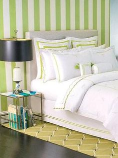 green and white striped bedroom