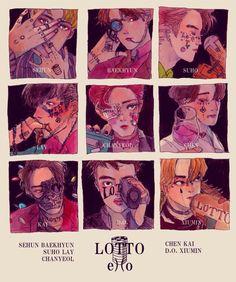 Exo Lotto Fanart Im shook Chanyeol, Baekhyun Fanart, Fanart Bts, Kyungsoo, K Pop, Chibi, Exo Stickers, Exo Monster, Exo Anime