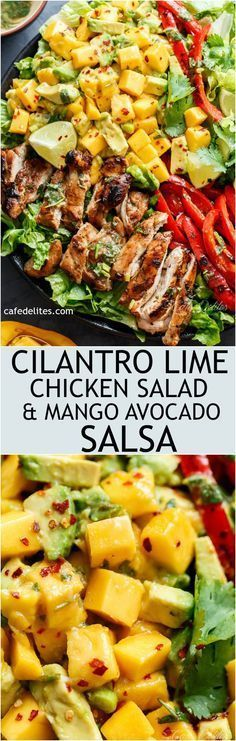 Easy Grilled Cilantro Lime Chicken Salad With A Mango Salsa! Easy Grilled Cilantro Lime Chicken Salad With A Mango Salsa! Healthy Salads, Healthy Eating, Healthy Recipes, Easy Recipes, Healthy Juices, Detox Recipes, Amazing Recipes, Healthy Drinks, Drink Recipes