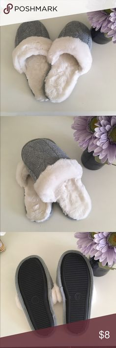 Victoria Secret Grey Slippers These never worn VS slippers are so cozy for those winter days! Easy slip on and slip off with good bottom traction. White fur lining and grey crochet fabric on the outside Victoria's Secret Shoes Slippers