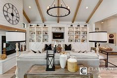 "Clark & Co Homes - 2016 Spring Parade Home ""The Heartland"". Modern Farmhouse. www.clarkandcohomes.com Built-in cabinetry; White Oak Beams; Painted brick fireplace; Shaw White Oak engineered wood flooring; White Dove by Benjamin Moore; Black Magic. Shiplap paneling."