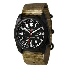 Bertucci 13502 Men's A-5P Illuminated Black Dial Khaki Nylon Strap Watch