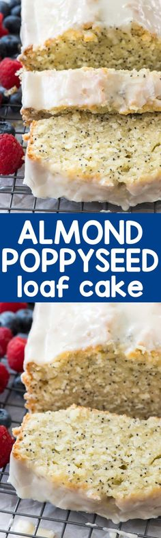 Almond Poppyseed Loaf Cake is an easy pound cake recipe that's made in a loaf pan. It's like a quick bread but a cake all in one, full of almond extract flavor and poppyseed! ~ Crazy For Crust Easy Pound Cake, Pound Cake Recipes, Loaf Recipes, Baking Recipes, Just Desserts, Delicious Desserts, Dessert Recipes, Breakfast Recipes, Food Cakes