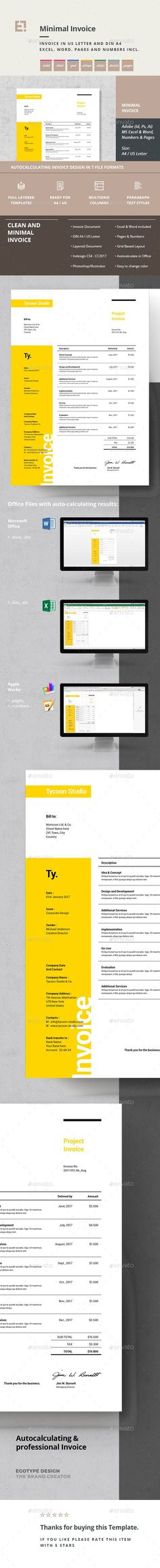 Buy Invoice by egotype on GraphicRiver. Minimal Invoice Templates Minimal and Professional Proposal Brochure template for creative businesses, created in Ad. Invoice Design Template, Brochure Template, Stencil Templates, Print Templates, Proposal Photography, Print Design, Graphic Design, Layout, Business Proposal