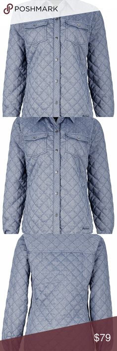 Marmot Women's Riley Insulated Jacket. New! It has classic flannel styling to keep your look laid-back when you're strolling through town, but it's outfitted with light insulation to add that extra bit of warmth on crisp November afternoons. It's also outfitted with a performance fabric to help you stay dry and comfy when you head out for a hike to enjoy the fluttering autumn leaves.  Arctic Navy Color. Marmot Jackets & Coats