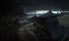 The Evil Within - Graveyard Crumbling Into The Sea - Concept Art