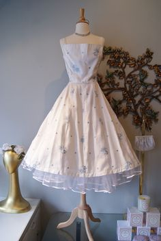 1950's white lined embroidered and rhinestone studded sun dress by Jerry Gilden.
