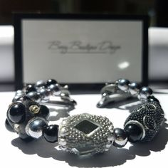 """Apple Watch Band 38mm , Apple Watch Band 42mm, Beaded, Silver W/ Black Glass Beads & Black /Silver Baubles Style"""" Man in the Mirror"""" by BerryBoutiqueDesign on Etsy"""