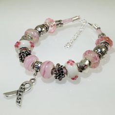 European Charm Bracelet Breast Cancer Awareness by BekisBeads