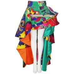 Pre-owned Iconic Atelier Versace Pop-Art Printed Ball Gown Skirt... ($19,500) ❤ liked on Polyvore featuring skirts, mini maxi skirt, multicolor skirt, long tiered skirt, multi color skirt and mini skirt
