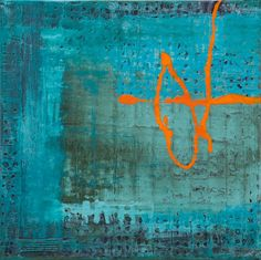 Layered work with turquoise base, crayon and pastel resist and indigo washes... acrylic drizzle in light cadmium red