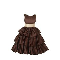 1c67a723f Cinderella Couture Girls Brown Layered Champagne Sash Pick Up Occasion Dress  Brown Wedding Cakes, Girls