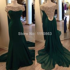 Real Sample Long Evening Dress 2014 Mermaid Boat Neck Sleeveless Beading Sweep Train Dark Green Chiffon Formal Prom Dress $168.00