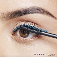 Complete your beauty look with Maybelline's Push Up Angel mascara that lifts, separates and wings out lashes for the perfect flared effect! Get this colored liner look with Lasting Drama Gel liner pencils in 'silken turquoise' and 'striking copper'. This Fall look is perfect for date night, girls night, even weddings!