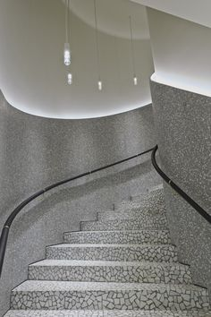 Terrazzo stairs at Valentino Interior Staircase, Staircase Design, Stair Lighting, Cool Lighting, Lighting Stores, Architecture Details, Interior Architecture, Interior Design, Stair Lift