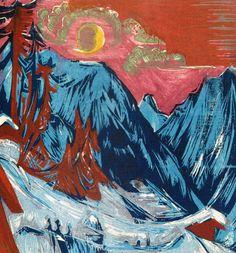 Ernst Ludwig Kirchner -Winter Moonlit Night (woodcut, 1919)
