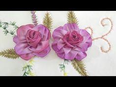 ROSA CAMELIA (EN JUEGO DE BAÑO) - YouTube Lace Ribbon, Ribbon Work, Ribbon Embroidery, Rose Mehndi Designs, Baby Hair Bands, Fabric Flowers, Needlework, Lily, Creative