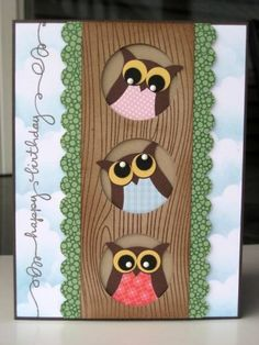 handmade greeting card: 3 owls in a tree ... owl punch ... cute! ... Stampin' Up!