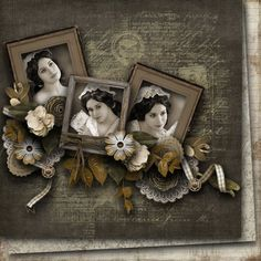 A dark vintage inspired background and angled flower embellishments set off lovely b/w bridal portraits.