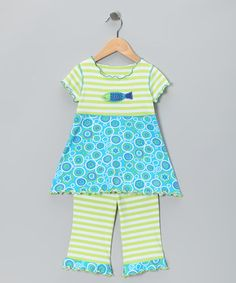 Take a look at this Aqua Stripe Fish Top & Capri Pants - Toddler & Girls by Mis-Tee-V-Us on #zulily today!