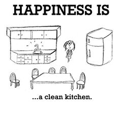 Happiness is, a clean kitchen. - Cute Happy Quotes