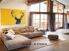 MY DEER YELLOW Q // custom made // Art Series, House Goals, Evolution, Custom Made, Deer, Couch, Curtains, Yellow, Furniture