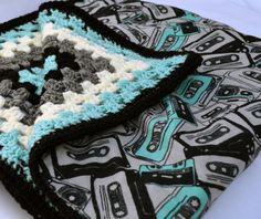 Cassette tape crochet baby blanket, granny square reversible crochet baby blanket
