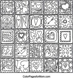 Color your stress away with a Hearts in Squares II coloring canvas. Meridian loyalty club members get a set of premium coloring markers FREE with each purchase! Heart Coloring Pages, Free Coloring Pages, Coloring Sheets, Coloring Books, Doodle Background, Background Patterns, Doodle Patterns, Zentangle Patterns, Coloring Canvas