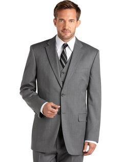 Grey Wedding Suits for Groom | Stripes Notch Lapel Pieces Grey Groom Suits - lindy bop odette classy ...