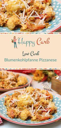 Low-Carb-Blumenkohlpfanne Pizzanese - Happy Carb Rezepte - Düşük karbonhidrat yemekleri - Las recetas más prácticas y fáciles Low Carb Meats, Low Carb Pizza, Low Carb Lunch, Low Carb Diet, Healthy Low Carb Recipes, Diet Recipes, Shake Recipes, Sausage Recipes, Low Carb Crackers