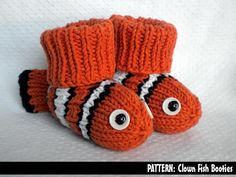 Clown Fish Baby Booties via Craftsy